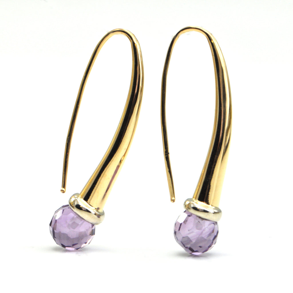 Italian 18k Amethyst briolette drop earrings - bijoux fine Montreal