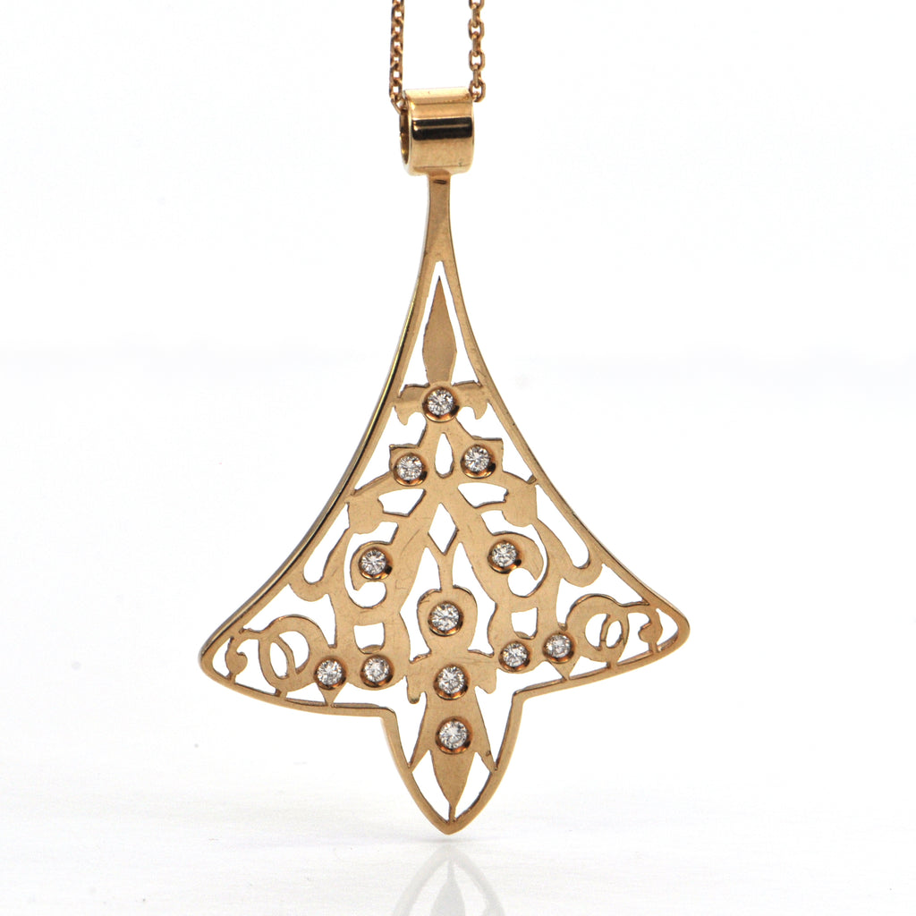Bell Inspired 18K Yellow Gold and Diamond Pendant C. 1940 + Montreal Estate Jewelers