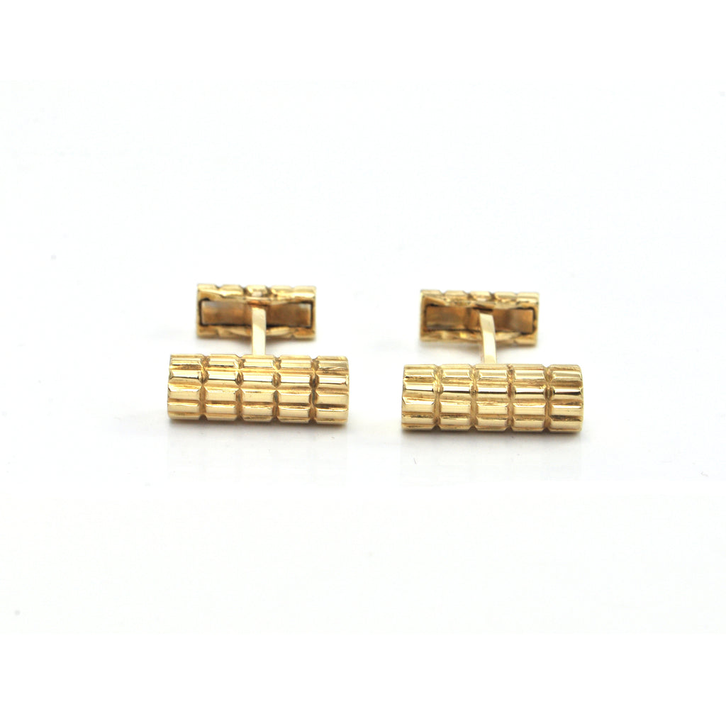 Vintage 18K Yellow Gold Textured Cylindrical Cufflinks + Montreal Estate Jewelers