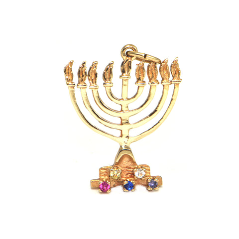 Vintage 10K Yellow Gold Menorah Charm + Montreal Estate Jewelers