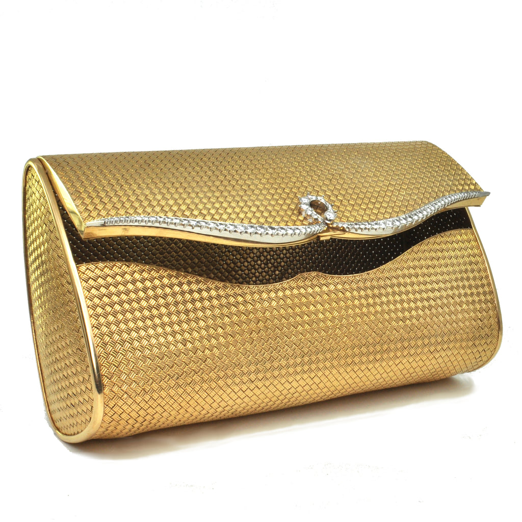 5 ct Diamonds, solid 18k gold and Platinum Mid-Century French Clutch + Montreal Estate Jewelers