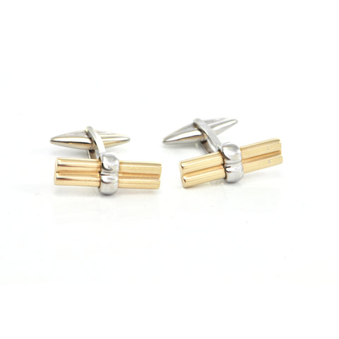 Vintage Italian 14K Yellow and White Gold Cufflinks + Montreal Estate Jewelers