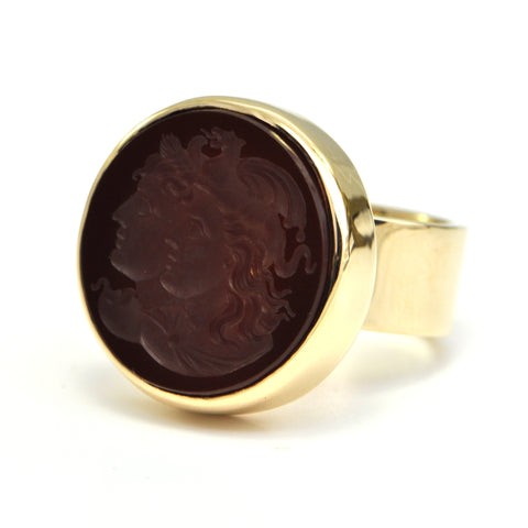 Carved Carnelian Intaglio ring 14k Circa 1950 - Montreal estate jewellery