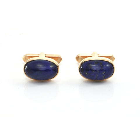 Vintage 18K Yellow Gold and Blue Lapis Lazuli Cufflinks + Montreal Estate Jewelers