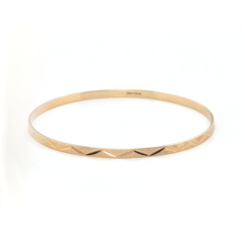 Vintage 14K Yellow Gold Bangle Bracelet with Etched Motif