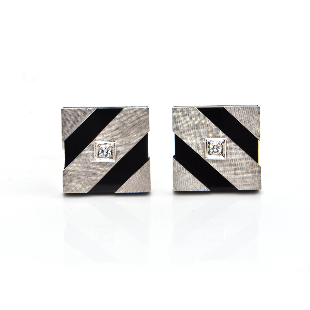Vintage 14K  White Gold and Onyx Cufflinks with 0.16CT in Diamonds  + Montreal Estate Jewelers