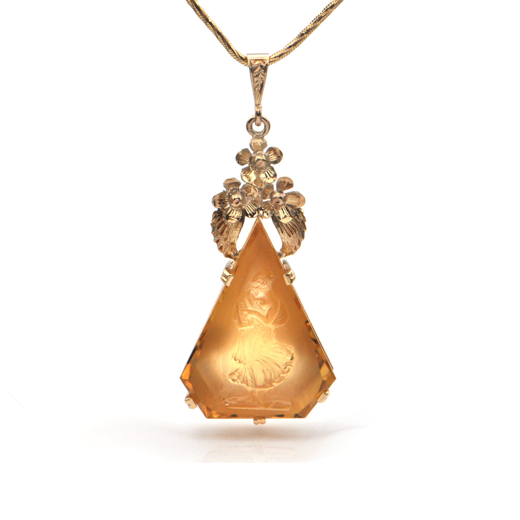 Vintage Carved 14CT Citrine and 14K Yellow Gold Pendant + Montreal Estate Jewelers