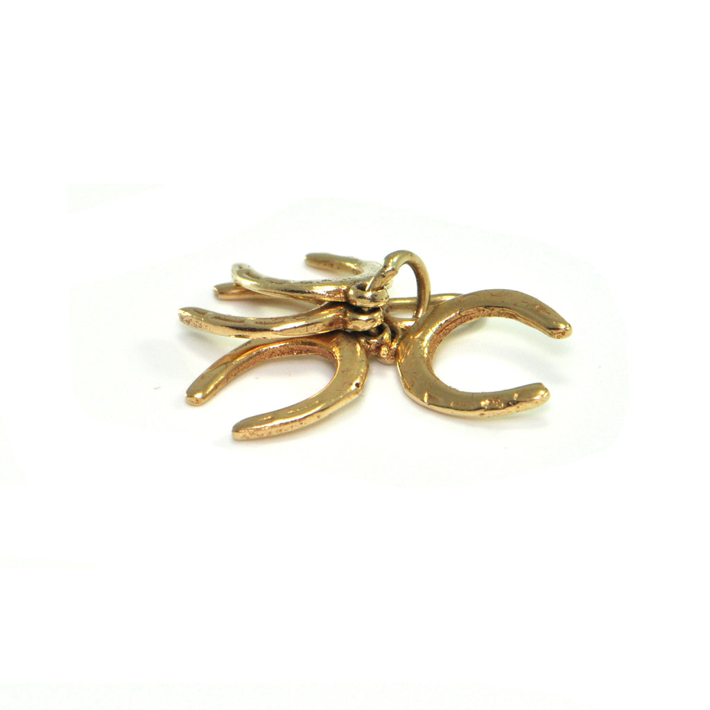Vintage 14K Yellow Gold Horse Shoe Charms + Montreal Estate Jewelers