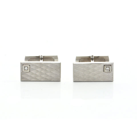 Vintage 18K White Gold and Diamond Cufflinks with Engraved Geometric Motif  + Montreal Estate Jewelers
