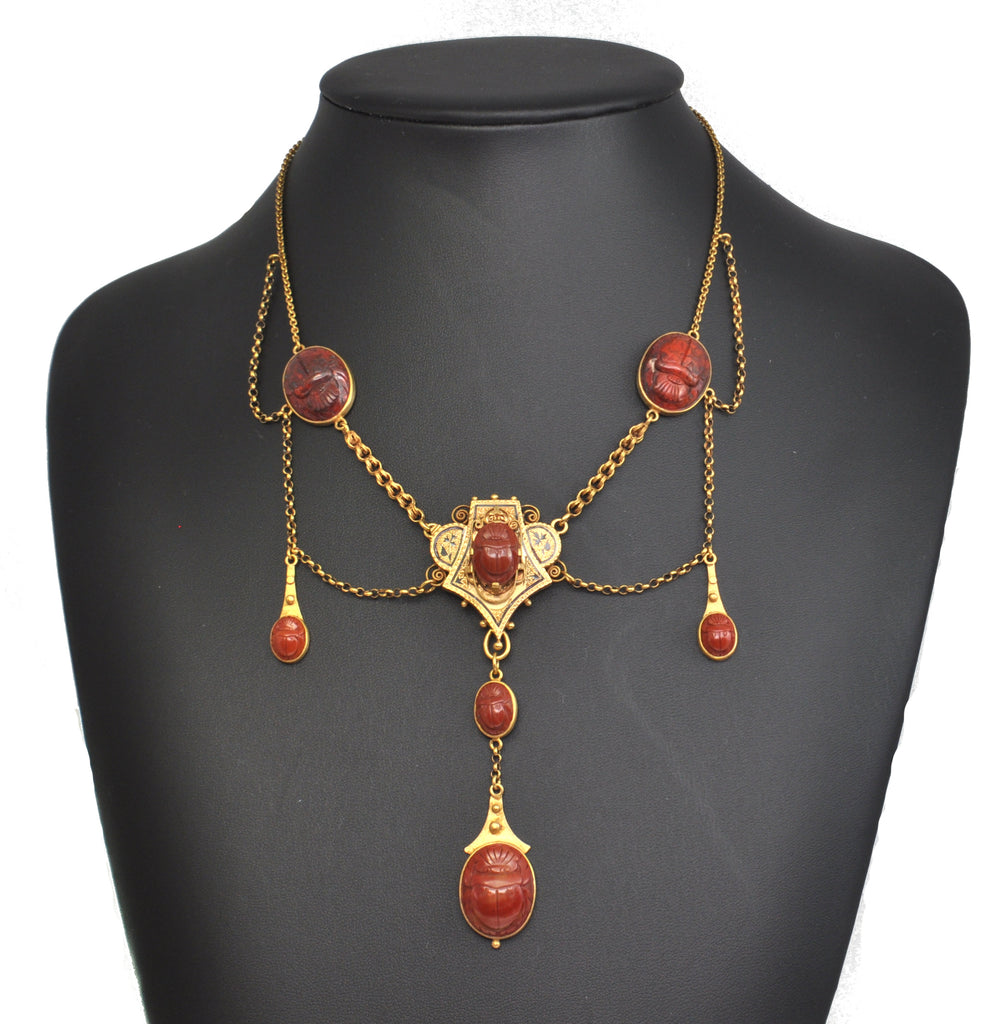 Antique Egyptian Bloodstone and Jasper Scarab in 14K Yellow Gold + Montreal Estate Jewelers