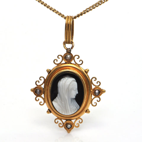 Antique Victorian Mourning Hardstone 14K Yellow Gold Cameo Pendant + Montreal Estate Jewelers