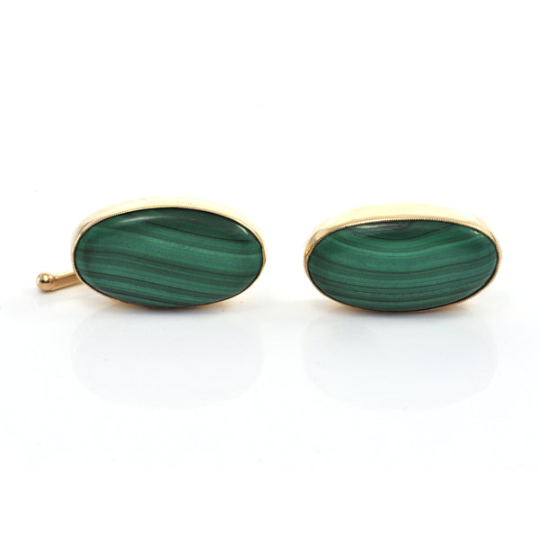 Vintage Malachite and 18K Yellow Gold Cufflinks + Montreal Estate Jewelers