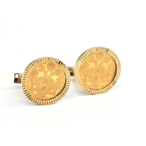 Vintage 14K Yellow Gold Cufflinks with 23K Yellow Gold Half Sovereign Coins + Montreal Estate Jewelers