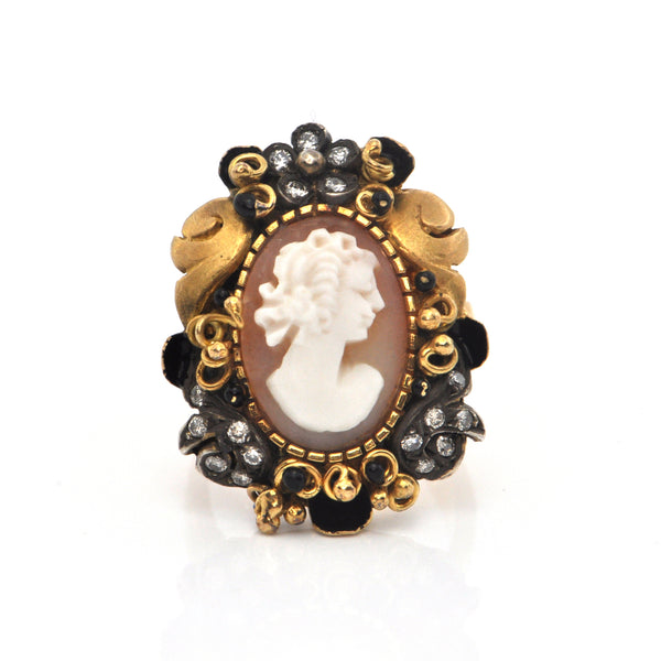 Vintage 0.20ct Diamond and Shell Cameo 18K Gold and Sterling Silver Ring C.1960 + Montreal Estate Jewelers