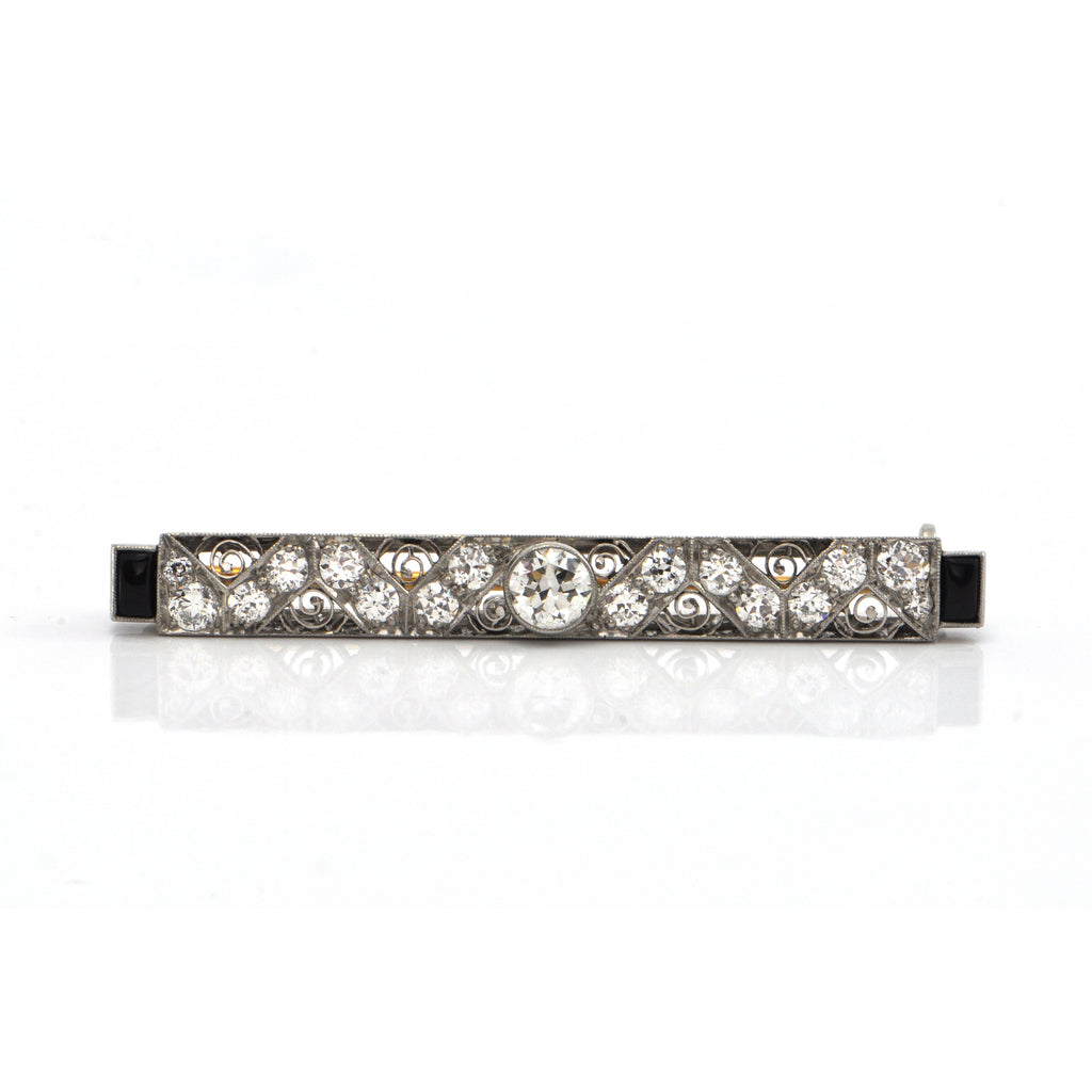 Art Deco Tiffany & CO 1.32 CT Diamond and Onyx Bar Platinum Pin C.1920 + Montreal Estate Jewelers