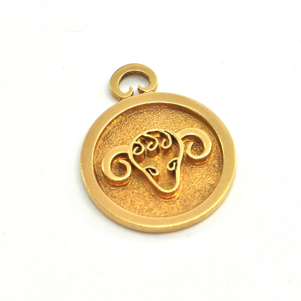 George DELRUE 18k Aries Zodiak Charm - montreal estate jewellers