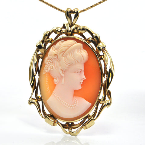 Victorian 14K Yellow Gold Shell Cameo Pendant of Woman + Montreal Estate Jewelers
