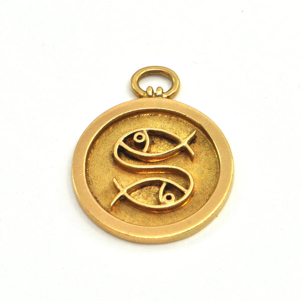 George DELRUE 18k Pisces Zodiac Charm - Montreal estate jewellers