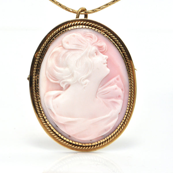 Vintage 18K Yellow Gold Shell Cameo Brooch/Pendant of Woman Looking Up + Montreal Estate Jewelers