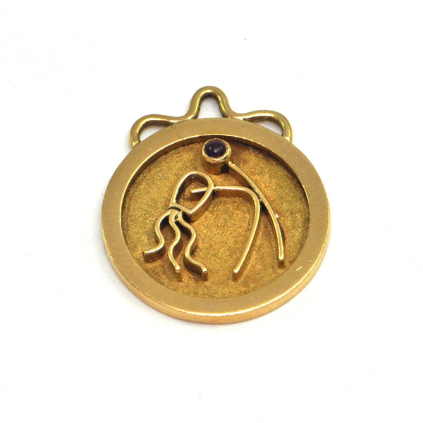George DELRUE 18k Aquarius Zodiac Charm - montreal estate jewellers