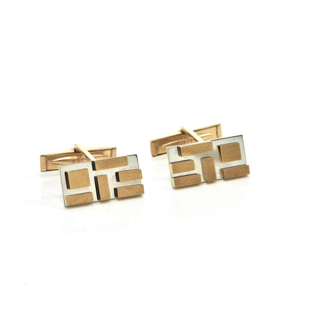 Vintage Lucas 14K and 18K White and Yellow Gold Cufflink with Geometric Design + Montreal Estate Jewelers