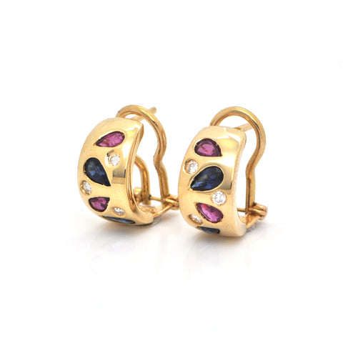 0.60ct Sapphire, 0.15ct Diamond and 0.50ct Ruby 18K Yellow Gold Huggie Earrings  + Montreal Estate Jewelers
