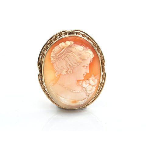 Victorian Hand Carved Shell Cameo Brooch in 14k Gold + Montreal Estate Jewelers