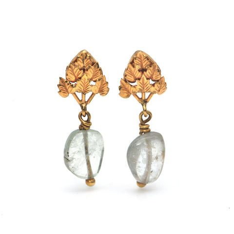 Vintage Rough Aquamarine and 18K Yellow Gold Drop Earrings + Montreal Estate Jewelers