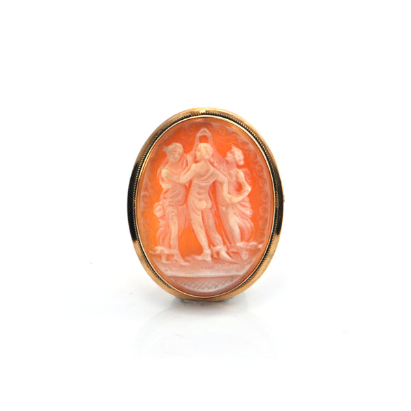 Vintage Shell Cameo Pendant/Brooch of Three Nymphs 18k Yellow Gold Frame + Montreal Estate Jewelers