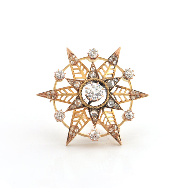 Double Six Pointed Star 1.40CT Diamond and 18K Yellow Gold Brooch C.1880 + Montreal Estate Jewelers