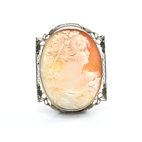 Vintage 14K Yellow Gold Shell Cameo Brooch/Pendant of Woman + Montreal Estate Jewelers