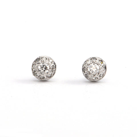 Vintage 0.60 CT Cluster Round Diamond Stud Earrings + Montreal Estate Jewelers