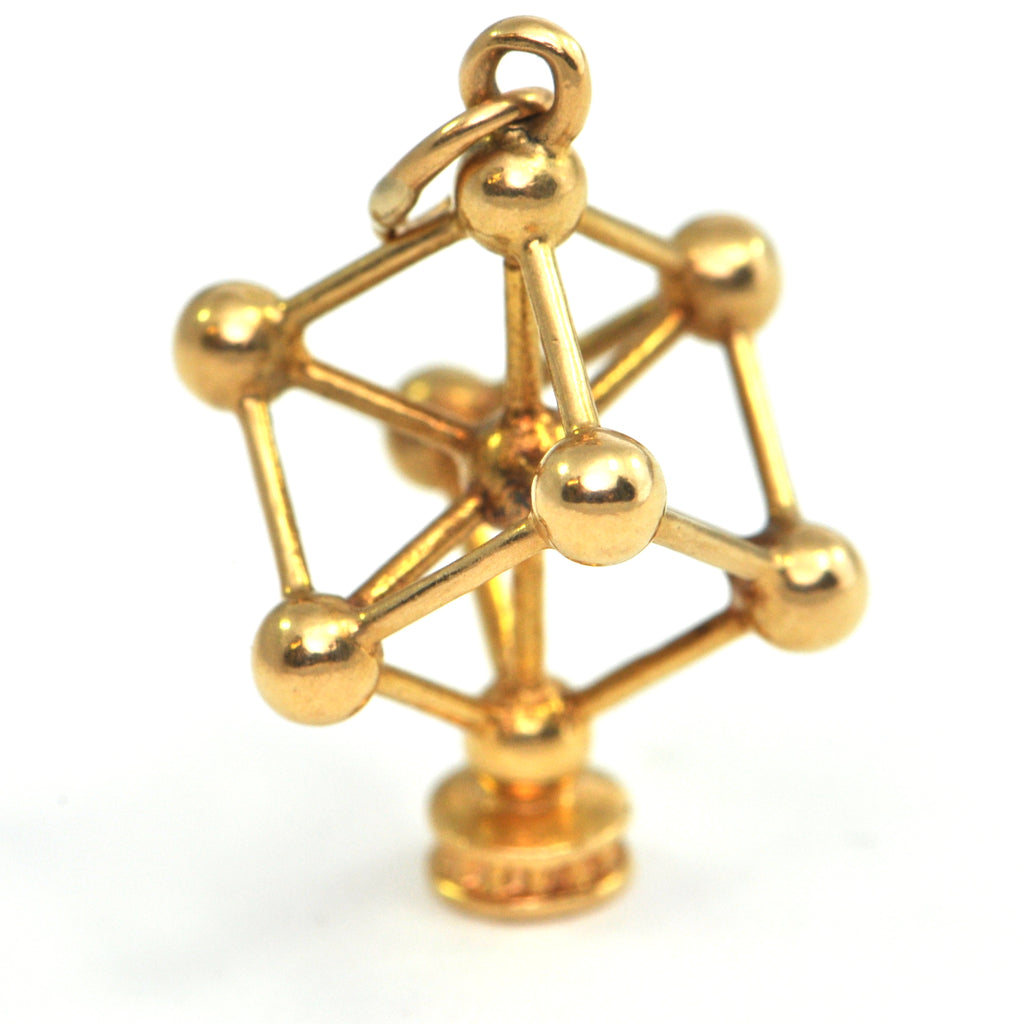 Vintage 18k gold charm - Body Centered Cubic Lattice - Montreal estate jewellers