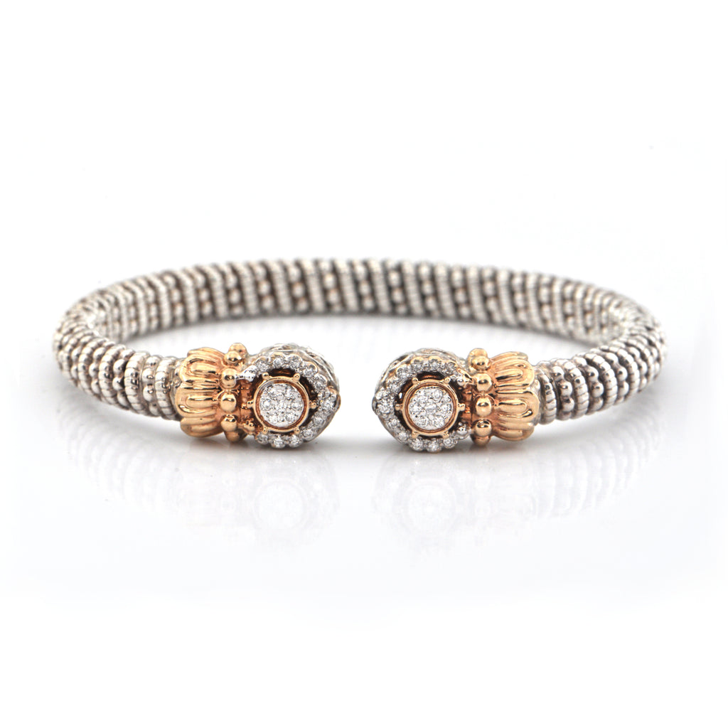 Alwand Vahan 0.20CT Diamond and 14K Yellow Gold and Sterling Cuff Bracelet + Montreal Estate Jewelers