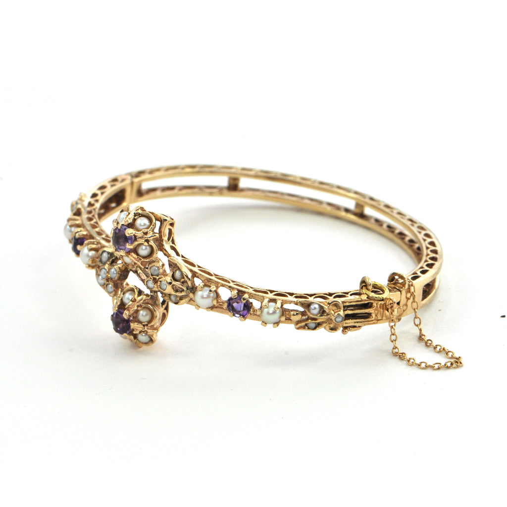 Amethyst and seed pearl hinged bangle 14k Circa 1950 - Montreal estate jewellers