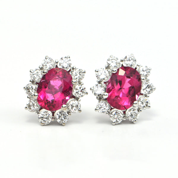 3.15 ct Pink Tourmaline and 1.0 Ct Diamond Earrings - montreal jewellery design