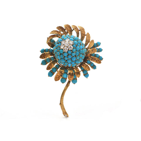 Vintage Turquoise and Diamond Flower Brooch + Montreal Estate Jewelers