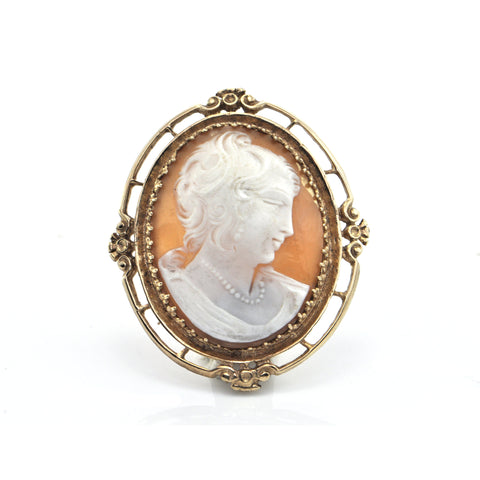 Vintage 14K Yellow Gold Shell Cameo Brooch /Pendant + Montreal Estate Jewelers