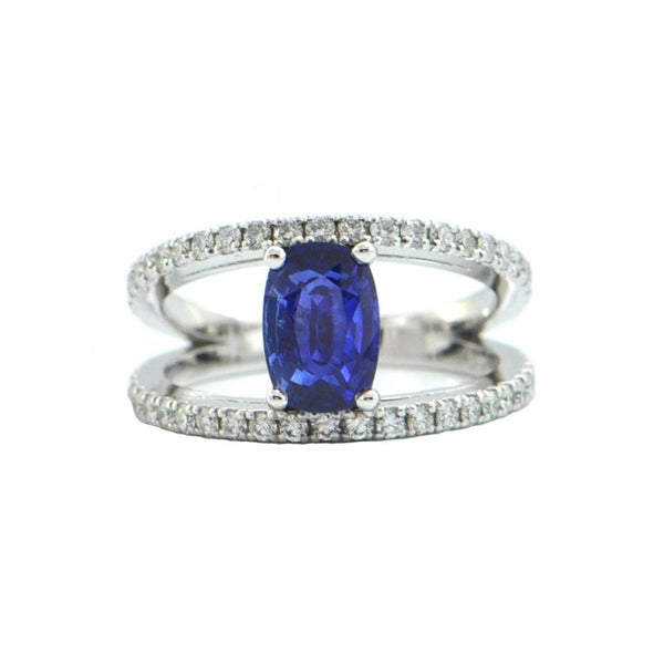 2.28CT Sapphire and Diamond 18k White Gold Ring + Montreal Estate Jewelers