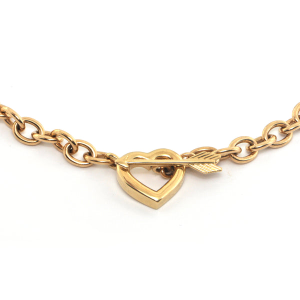 Tiffany & Co. 18K Yellow Gold Heart and Arrow Chain Link Necklace C.1994 + Montreal Estate Jewelers