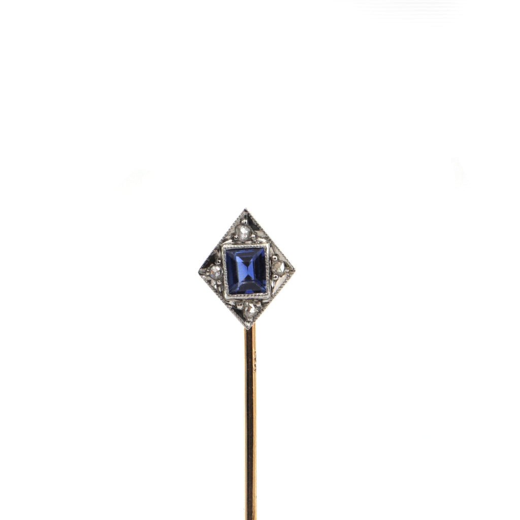 Vintage Sapphire and Diamond Long Stem Lapel Pin + Montreal Estate Jewelers