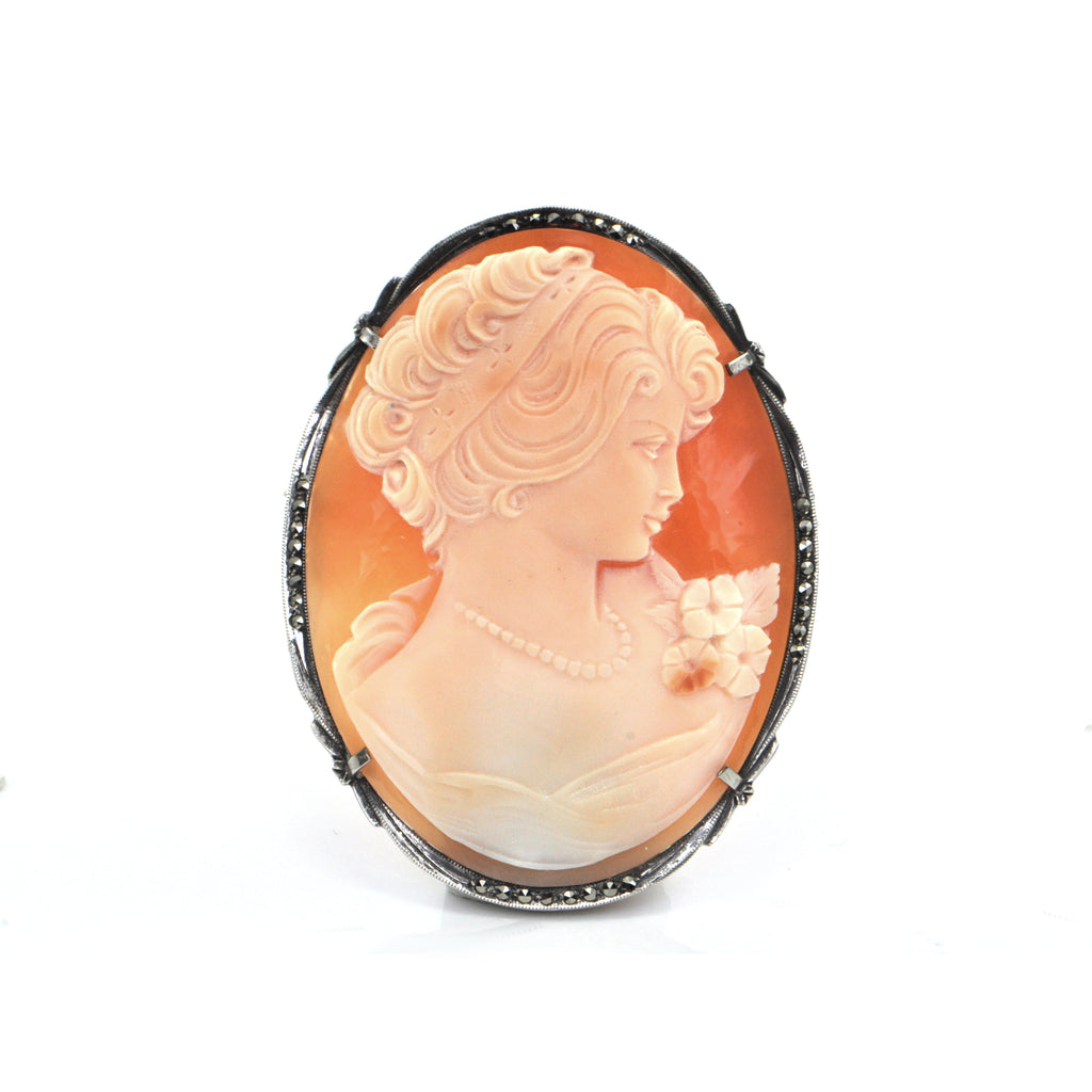 Vintage Sterling Silver Shell Cameo of Woman and Flowers + Montreal Estate Jewelers