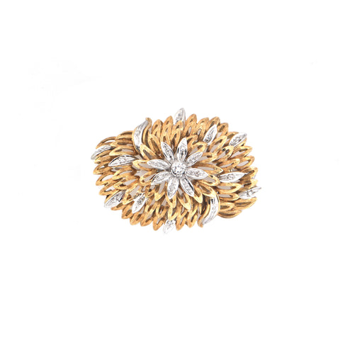 Retro Italian Diamond 18K Yellow and White Gold Flower Brooch C.1950 + Montreal Estate Jewelers