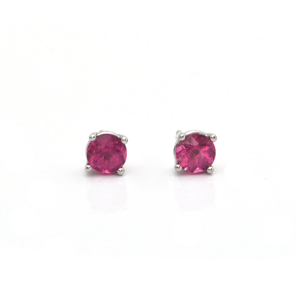 1.00CT Pink Tourmaline and 18K White Gold Stud Earrings + Montreal Estate Jewelers