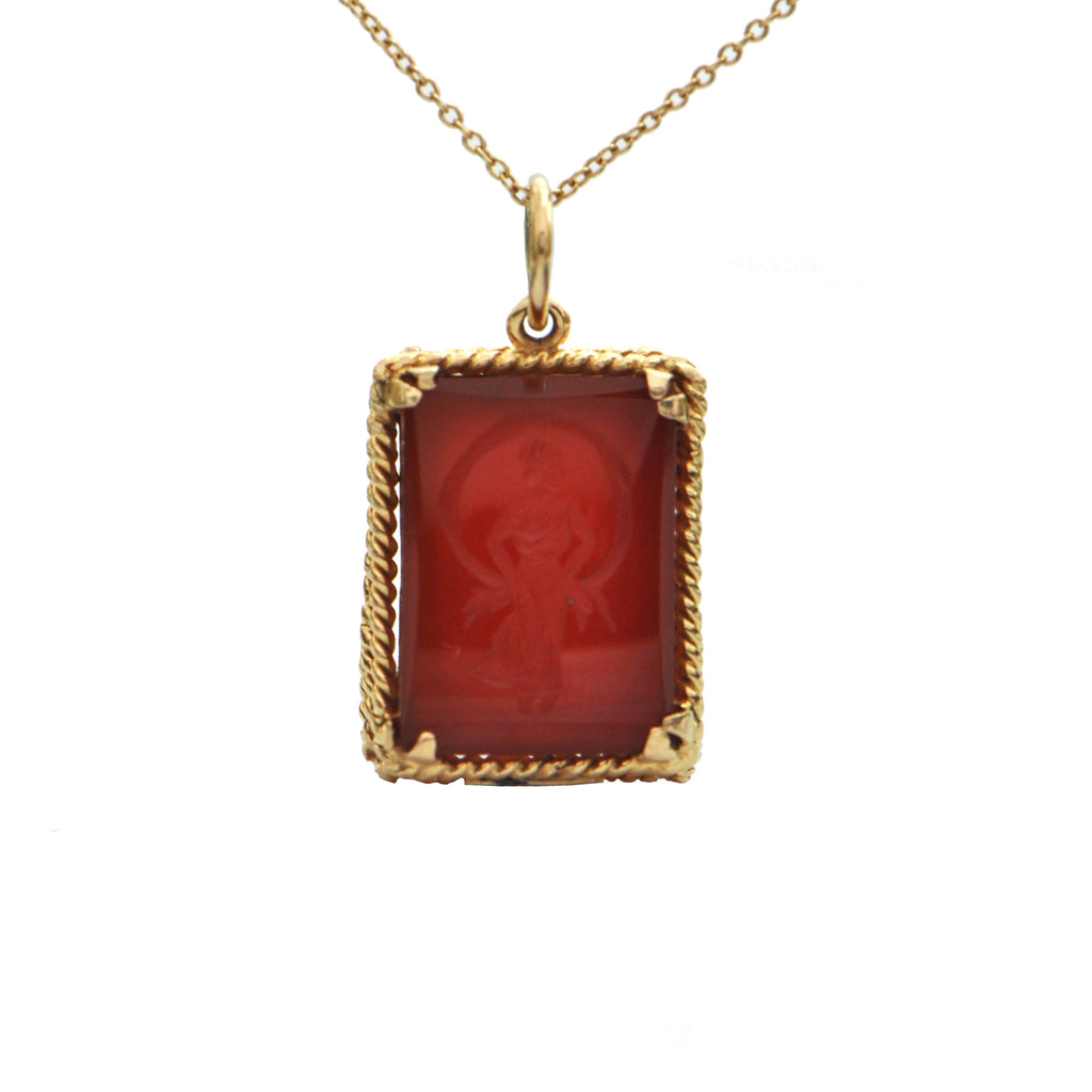 Birks Carnelian 18K Yellow Gold Pendant + Montreal Estate Jewelers