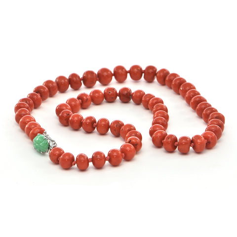 Vintage Mediterranean Coral Beaded Necklace with 14k White Gold Craved Jade Clasp + Montreal Estate Jewelers