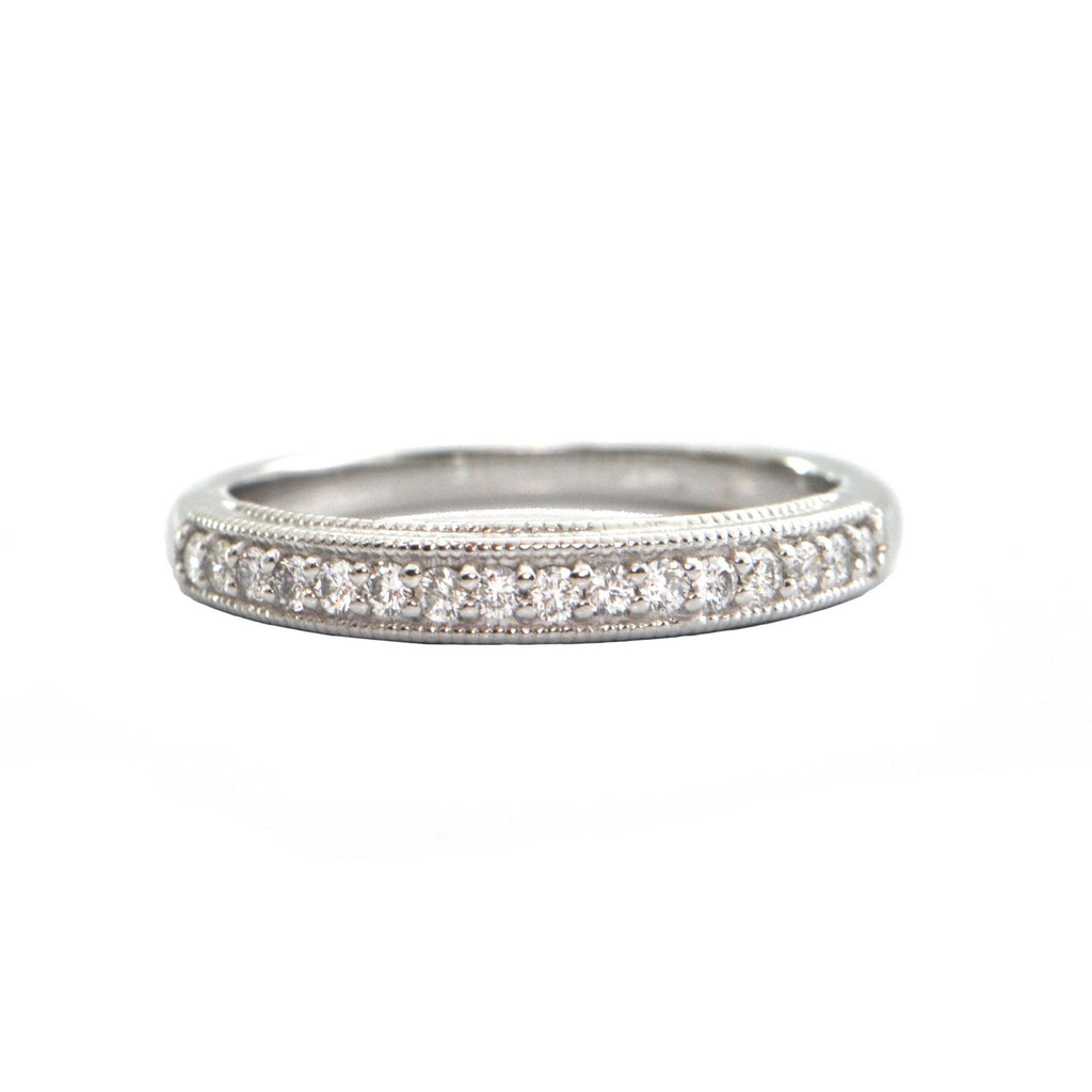 Pavé Diamond and Platinum Half Eternity Band + Montreal Estate Jewelers
