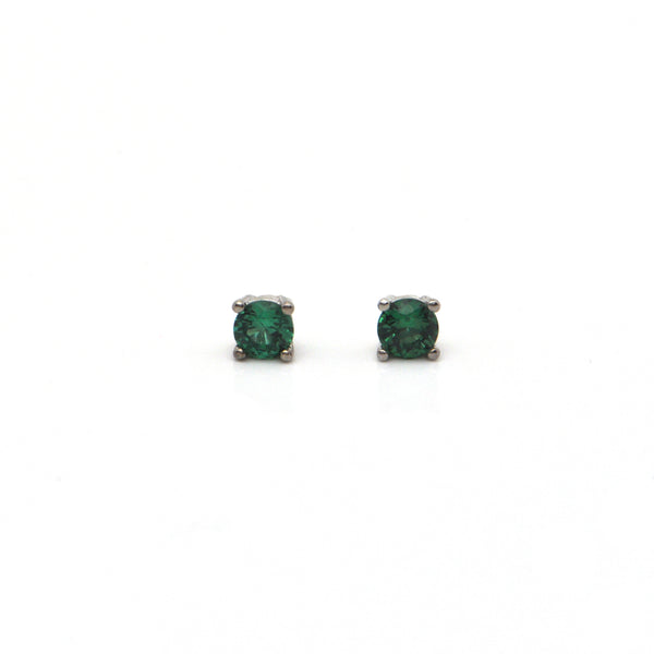 0.40CT Emerald and 18K White Gold Stud Earrings + Montreal Estate Jewelers