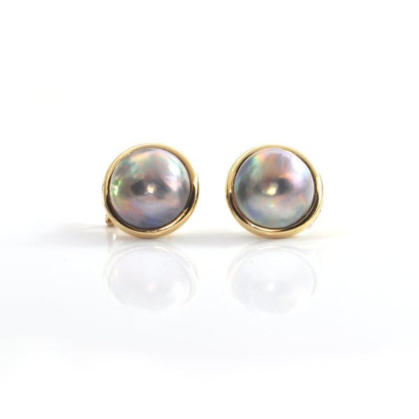 Tahitian Mabe Pearl 14k Yellow Gold Earrings + Montreal Estate Jewerlers