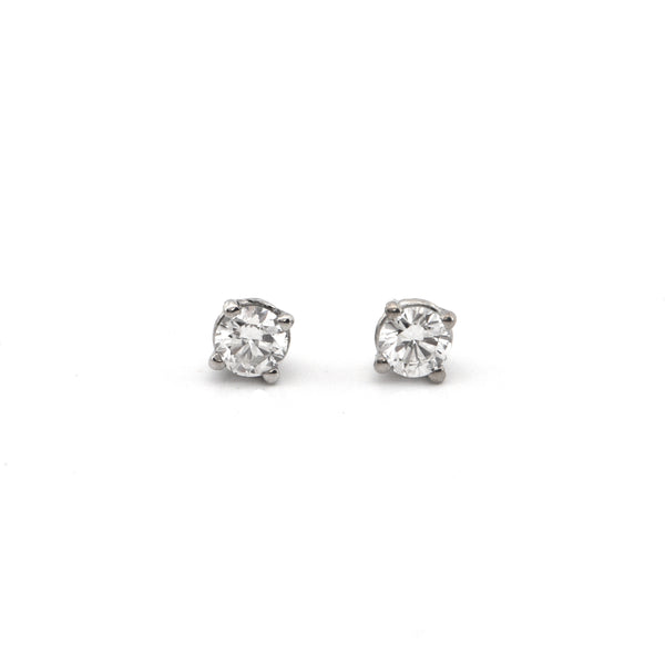 0.50CT Diamond and 18K White Gold Stud Earrings + Montreal Estate Jewelers